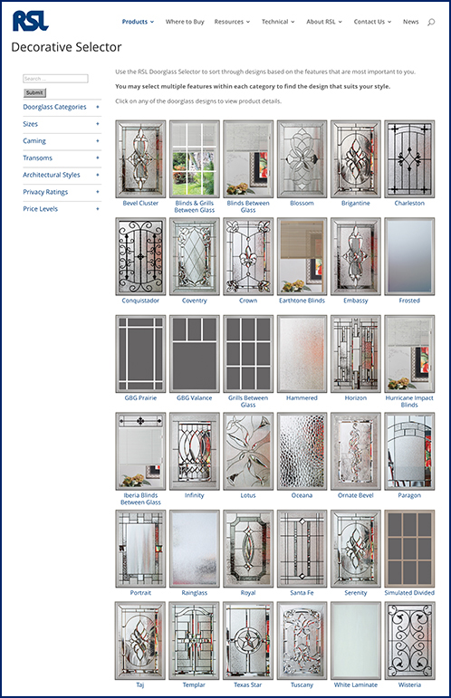 Great PRODUCTS Doorglass Categories