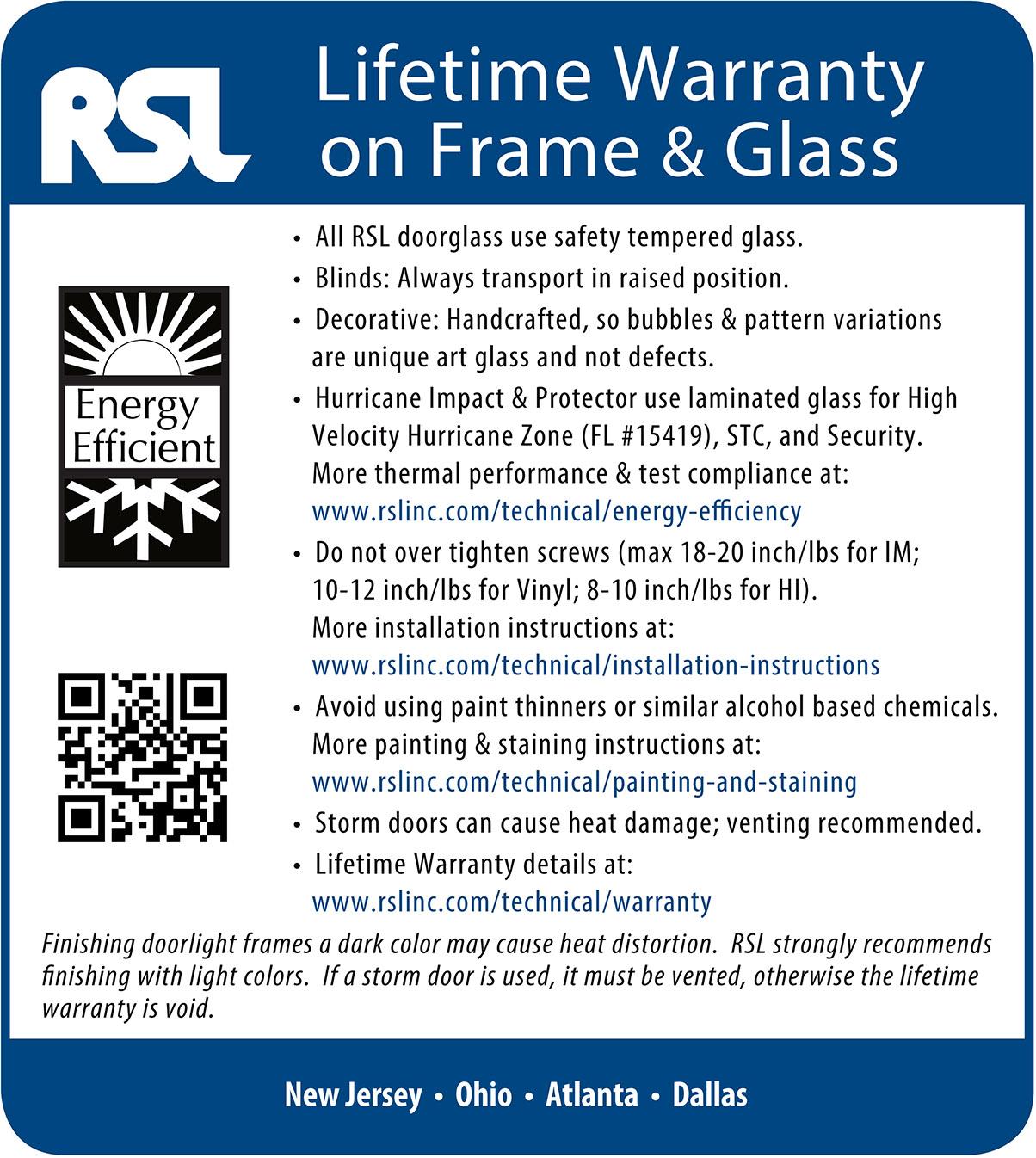 Warranty   RSL Doorglass